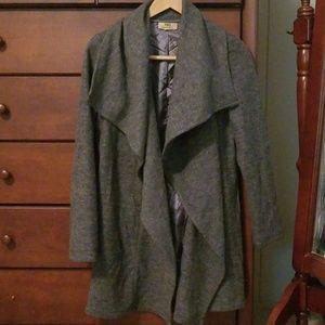 Gray flowy pea coat